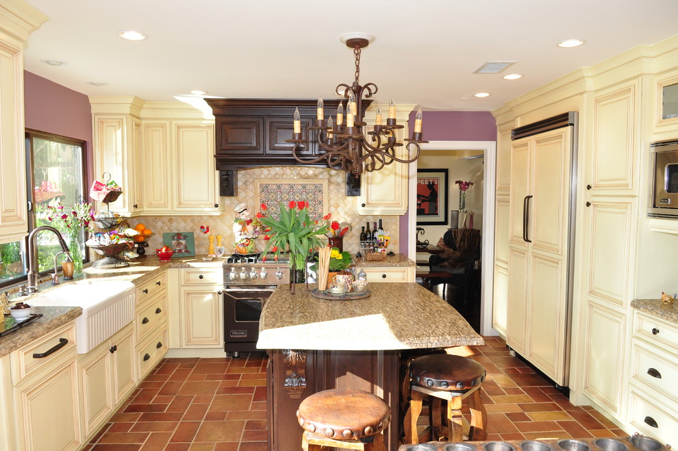 daltile com Kitchen Traditional with back splash backsplash beautiful chandelier fireclay sink granite countertop islands kitchen maple