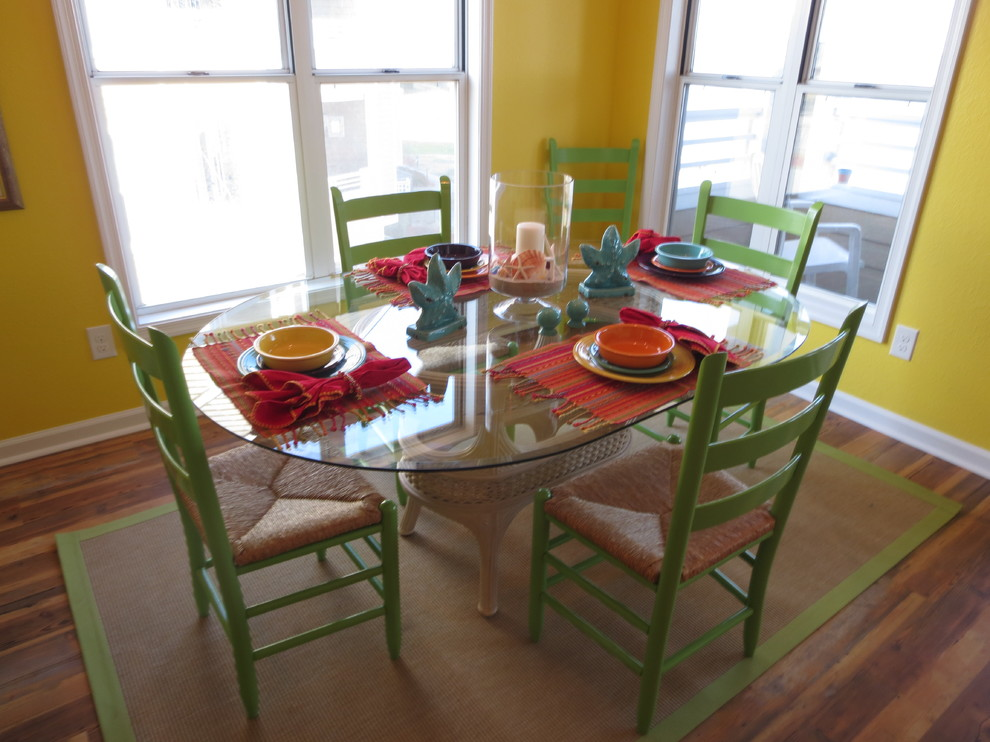 dalyn rugs Dining Room Beach with Asia Evans Artistry Coastal arrangement coastal style colorful dishes Faux Wood Vinyl
