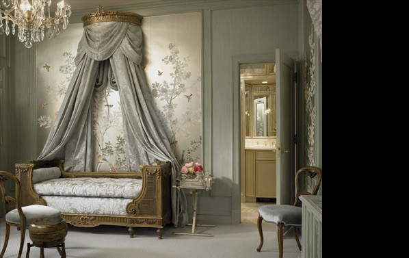 damask bedding Bedroom Traditional with Art bed Bedroom carpet chair chandelier decals doorway gray lighting silver traditional