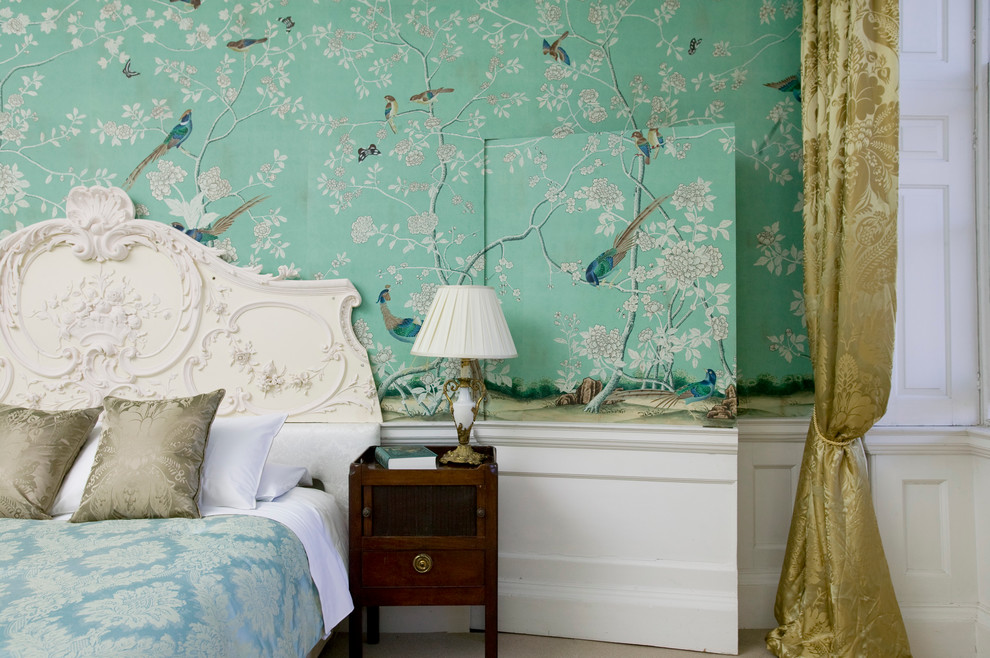 Damask Curtains Bedroom Traditional with Birds Wallpaper Hidden Door Jib Door Quirky Wallpaper Secret Door Wallpaper