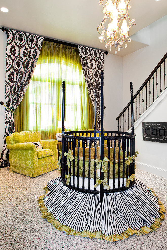 Damask Curtains Nursery Eclectic with Arched Window Black and White Bright Yellow Armchair Bumper Crystal Chandelier Drapes