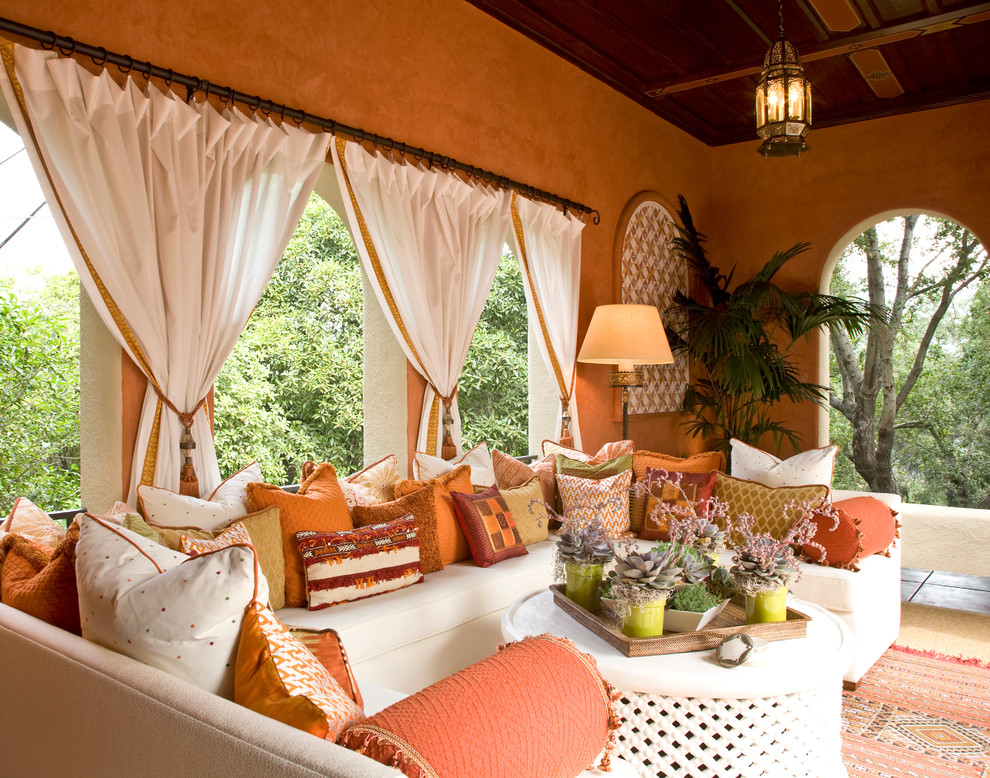 Damask Curtains Patio Mediterranean with Arches Covered Patio Mixed Prints Orange Pillows Orange Walls Patio Curtains Pendant