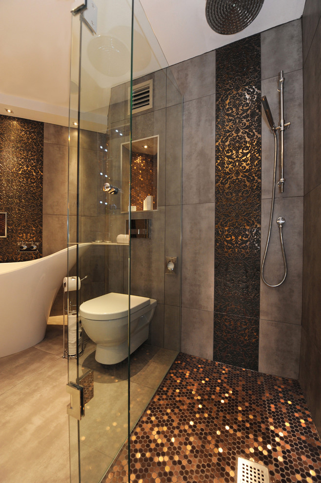 damask sheets Bathroom Contemporary with accent tiles ceiling lighting copper damask freestanding tub glass shower enclosure mosaic
