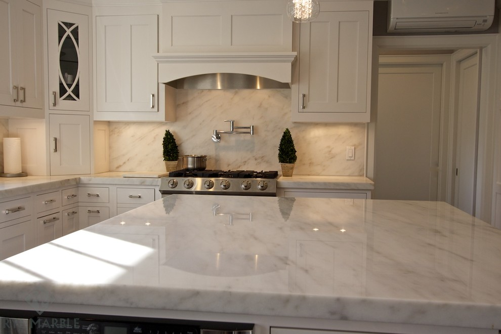 Danby Silhouette Kitchen Traditional with 2 Thick Danby 2 Thick Marble 5cm Danby Drop Miter Full Backsplash