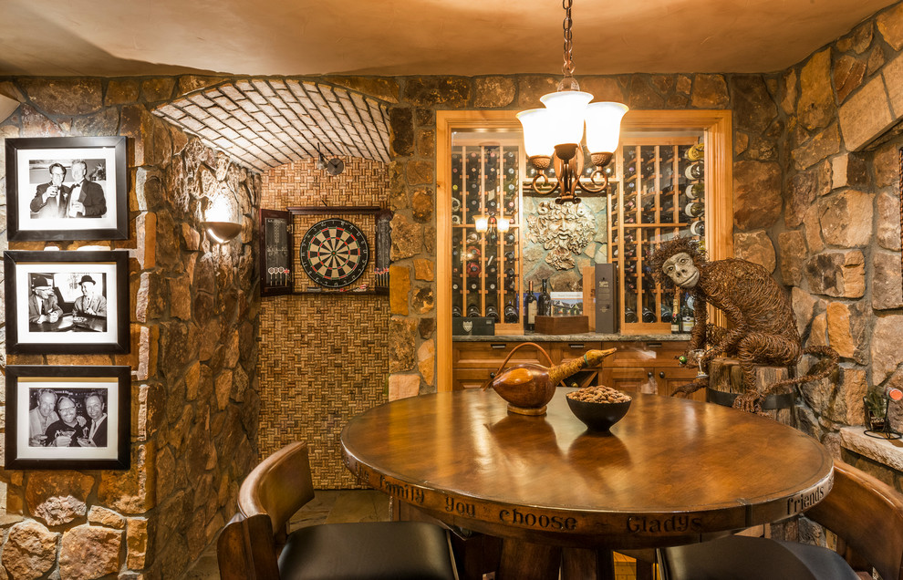 dart board cabinet Wine Cellar Rustic with bar stools barrel ceiling Brick barrel ceiling chandelier dart board leather monkey
