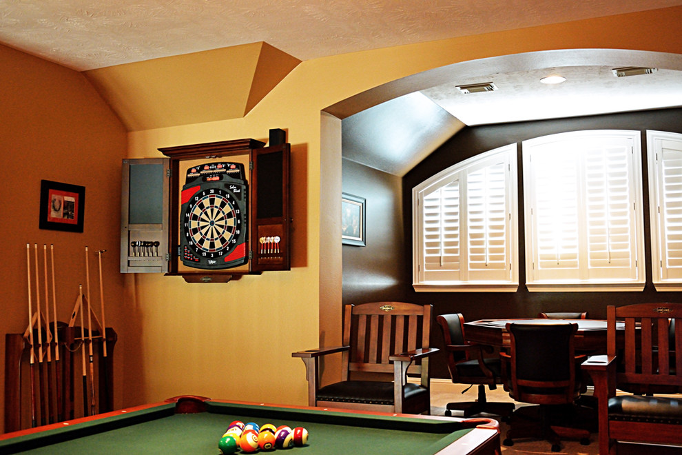 dartboard cabinet Family Room Transitional with billiards billiards table brunswick custom game room Custom Made Pool Table custom