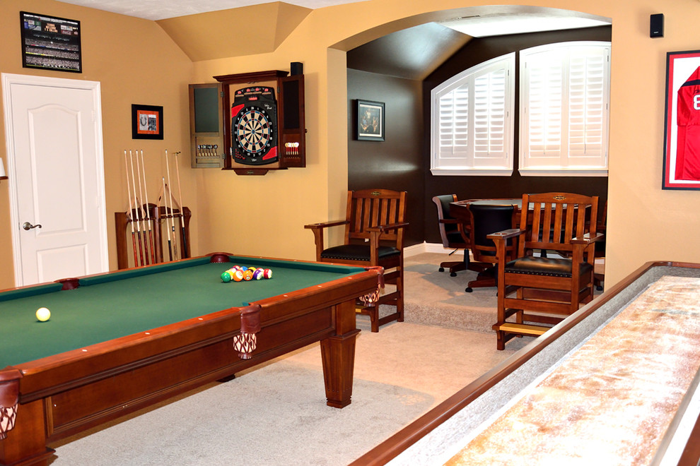 Dartboard Cabinet Family Room Transitional with Billiards Billiards Table Brunswick Custom Game Room Custom Made Pool Table Custom1