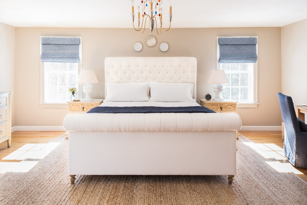 Dash and Albert Rugs Bedroom Transitional with Alabaster Lamps Art Work Blue Accents Classic Clean Costal Custom Furniture Display