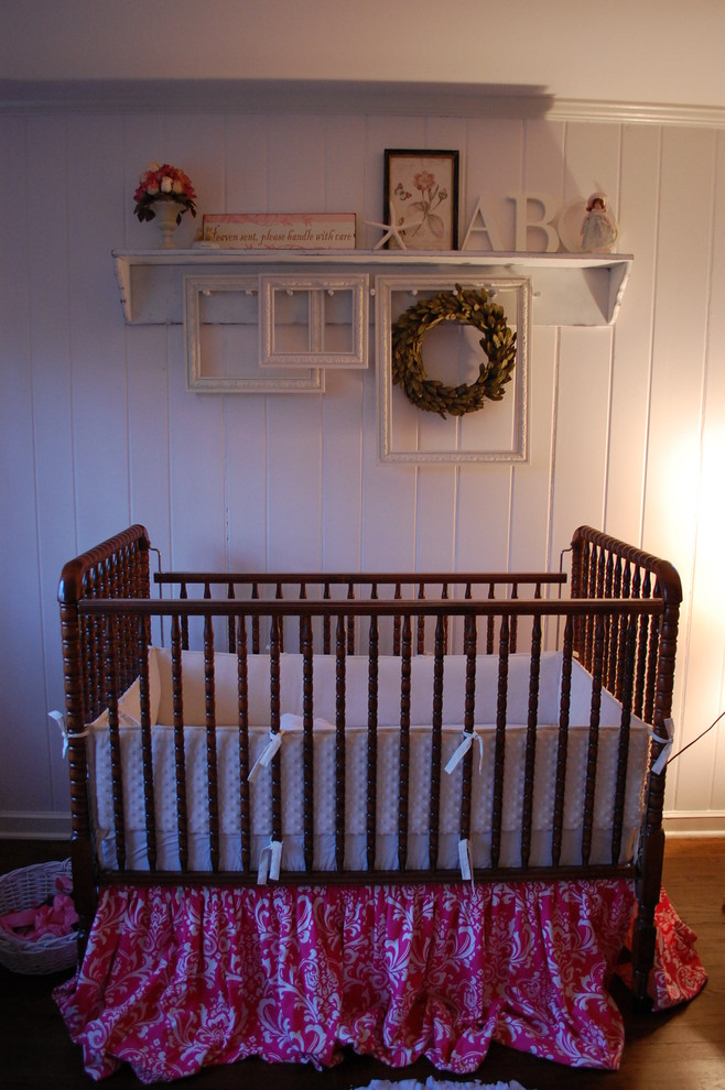 Davinci Crib Nursery Shabby Chic with Crib Bedding Crib Bedskirt Crib Dust Ruffle Crown Molding Dark Floor Nursery