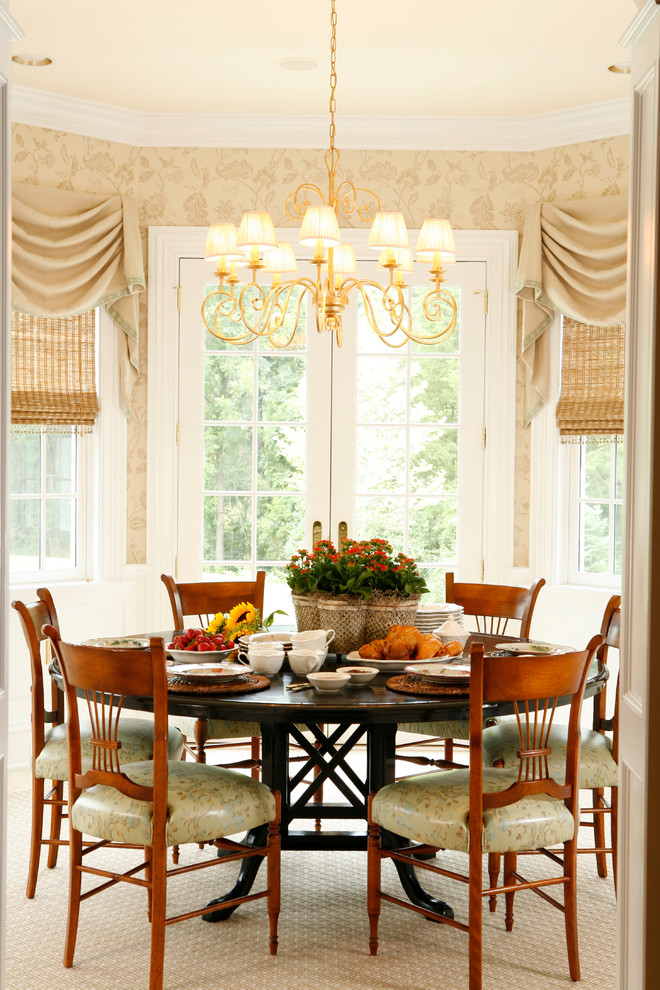 Davinci Kalani Dining Room Traditional with Bamboo Shades Beige Beige Rug Brass Chandelier Crown Molding French Doors Leaf