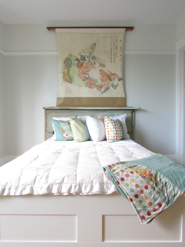 Day Bed Bedding Bedroom Shabby Chic with Blue Comforter Dots Farmhouse Bed Green Green Headboard Light Green Walls Orange