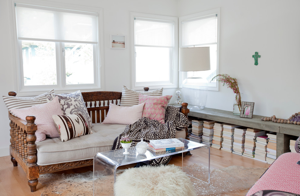 Daybed Living Room Eclectic with Carved Wood Bed Clear Acrylic Coffee Table Clear Coffee Table Corner Windows