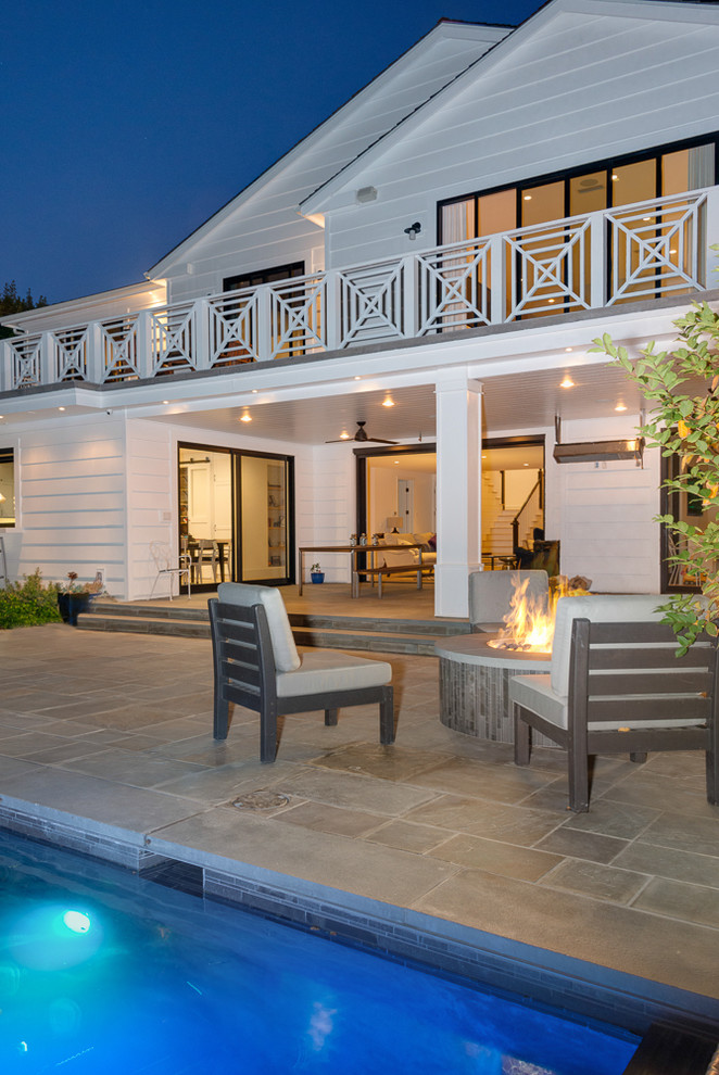 Daybed Patio Transitional with Balcony Bluestone Patio Covered Patio Firepit Indoor Outdoor Modern Railing Pool X Railng