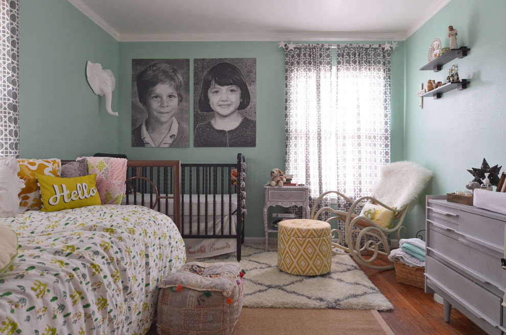 Daybed Bedding Nursery Eclectic with Beni Ourain Rug Black Crib Crib Gender Neutral Bedroom Gray and White