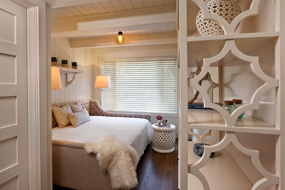 Daybed Couch Bedroom Transitional with Beige Beadboard Beige Beadboard Wall Beige Bedding Beige Bookcase Beige Bookshelf Beige
