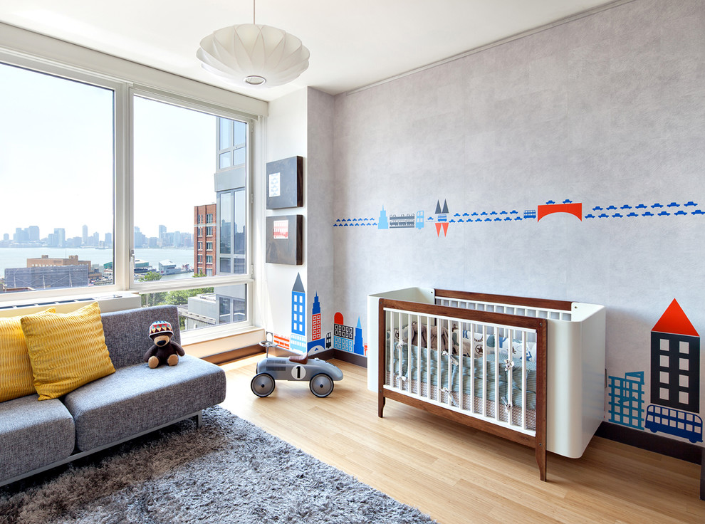 Daybed Couch Kids Modern with Baby Room Blue Accents Boy Room Casa Kids Crib Clean Floor to Ceiling Windows