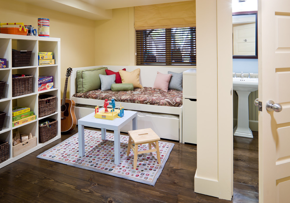 Daybed Trundle Kids Eclectic with Alcove Area Rug Basement Bed Pillows Bookcase Dark Floor Day Bed Decorative
