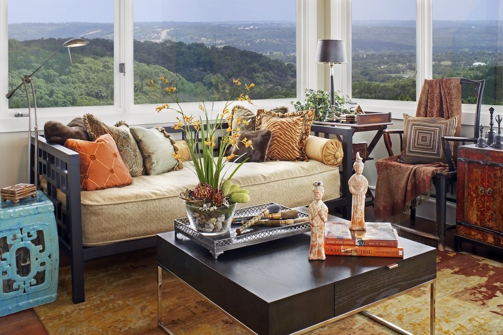 Daybeds Family Room Modern with Asian Austin Texas Interior Design Coffee Table Daybed Lake Travis Living Room