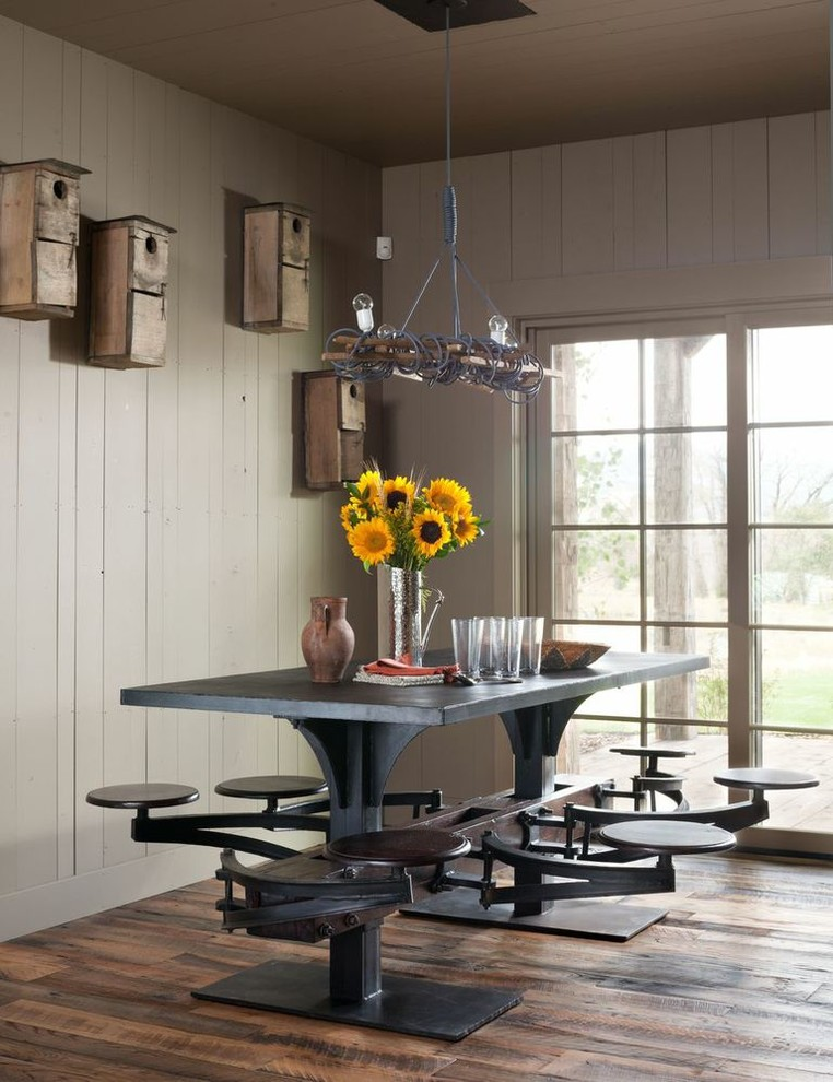 Decorative Bird Houses Dining Room Rustic with Bird Feeders Industrial Chic Metal Dining Stools