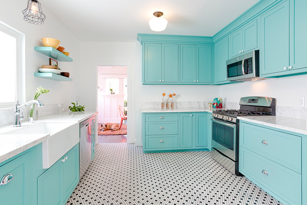 Decorative Bird Houses Kitchen Craftsman with Aqua Black and White Black and White Hex Tile Black and White