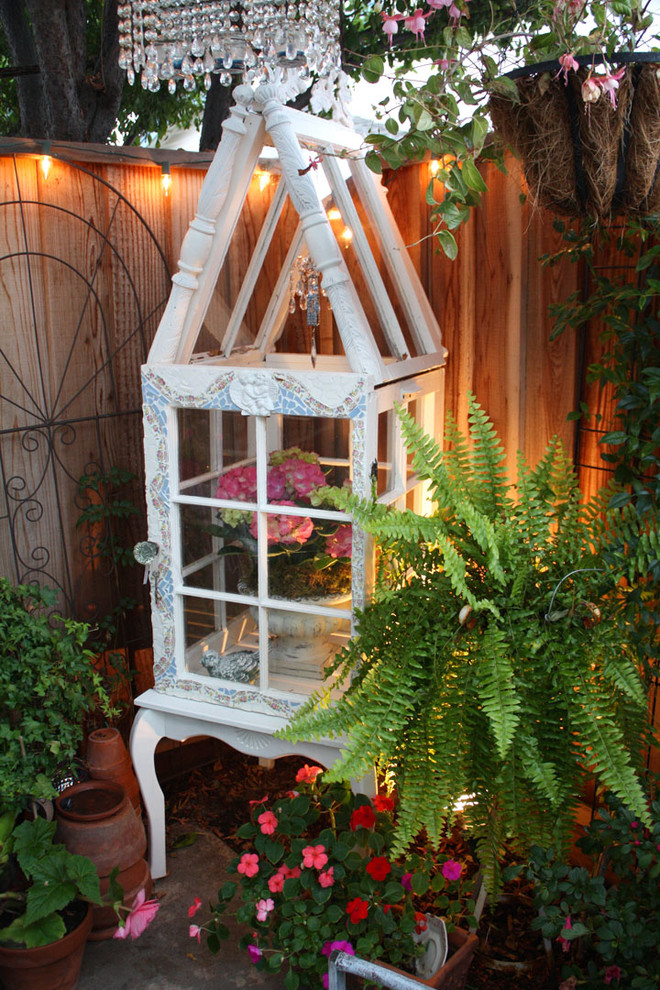 Decorative Bird Houses Patio Shabby Chic with Bird Cage Chandelier Container Plant Cottage Fern Potted Plant String Lights Wood