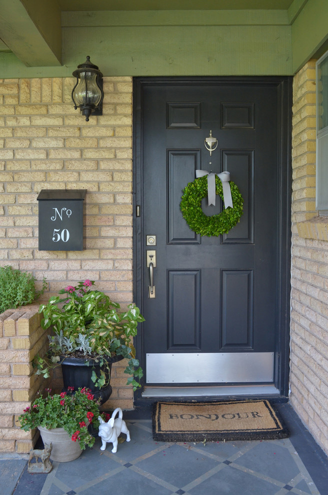 Decorative Mailboxes Entry Eclectic with Black Black Door Black Planter Bonjour Bow Brick Container Cream Brick Wall