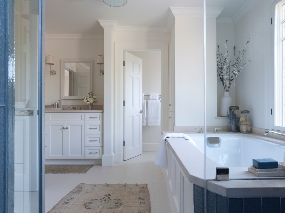 Deep Bathtubs Bathroom Transitional with 2 Counter Top with Flat Edge in Lime Stone Ann Sacks Tile