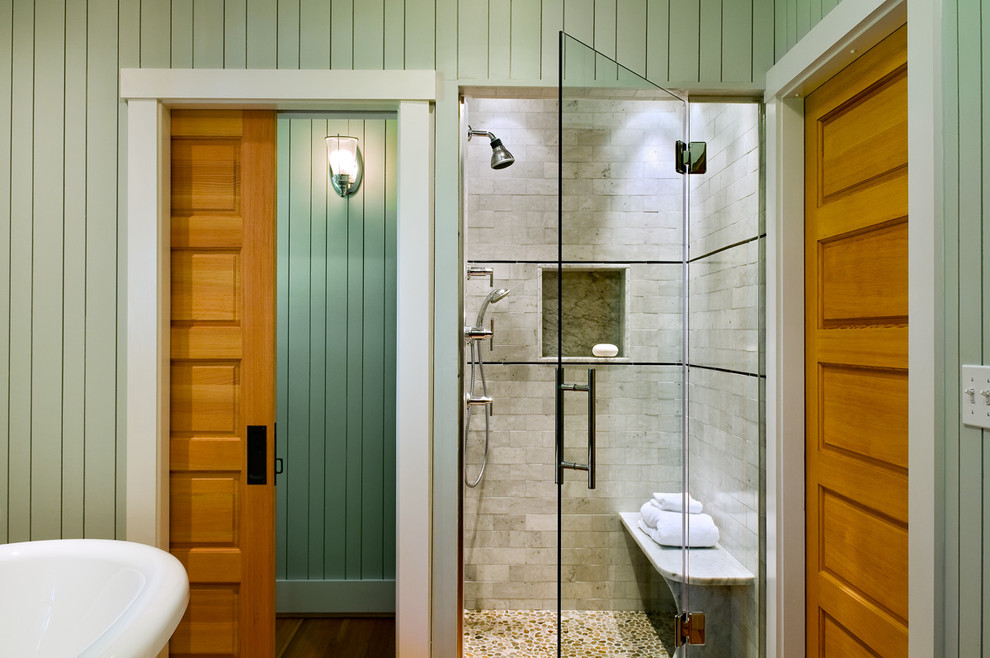 deep pocket sheets Bathroom Beach with cottage glass door pebble tile pocket door rustic sconce shower bench shower