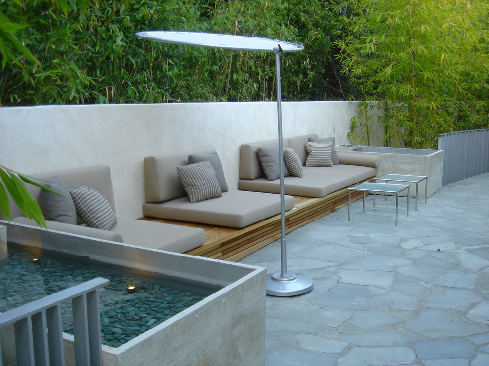 Deep Seat Patio Cushions Patio Contemporary with Bamboo Trees Brown and White Striped Pillows Brown Patio Cushions Built in Bench
