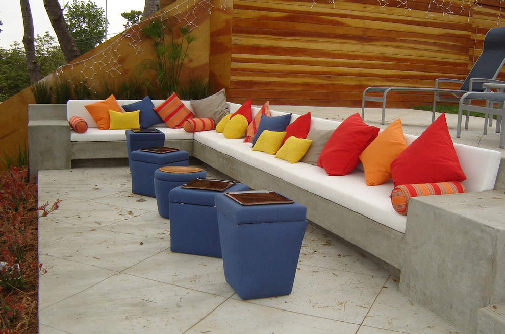 Deep Seat Patio Cushions Patio Contemporary with Blue Bright Bright Color Built Ins Cement Chaise Lounge Color Concrete Cushion