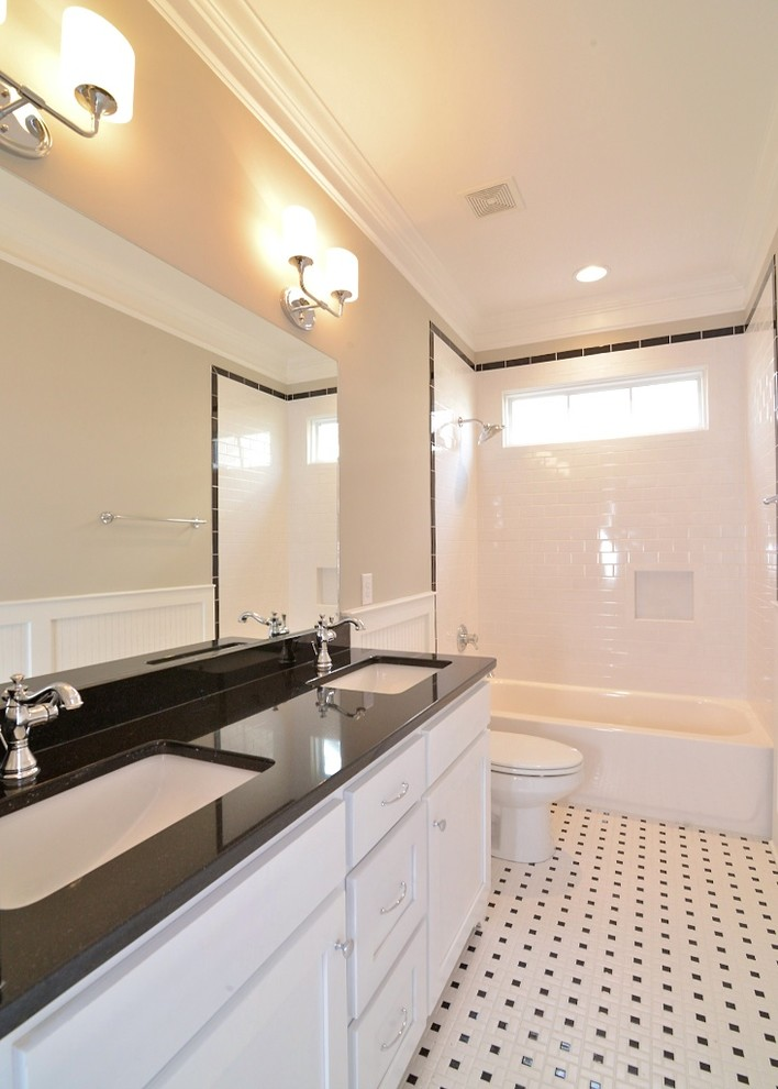 Delta Cassidy Bathroom Craftsman with Benjamin Moore Revere Pewter Black and White Vintage Bathroom Black Bullnose Tile
