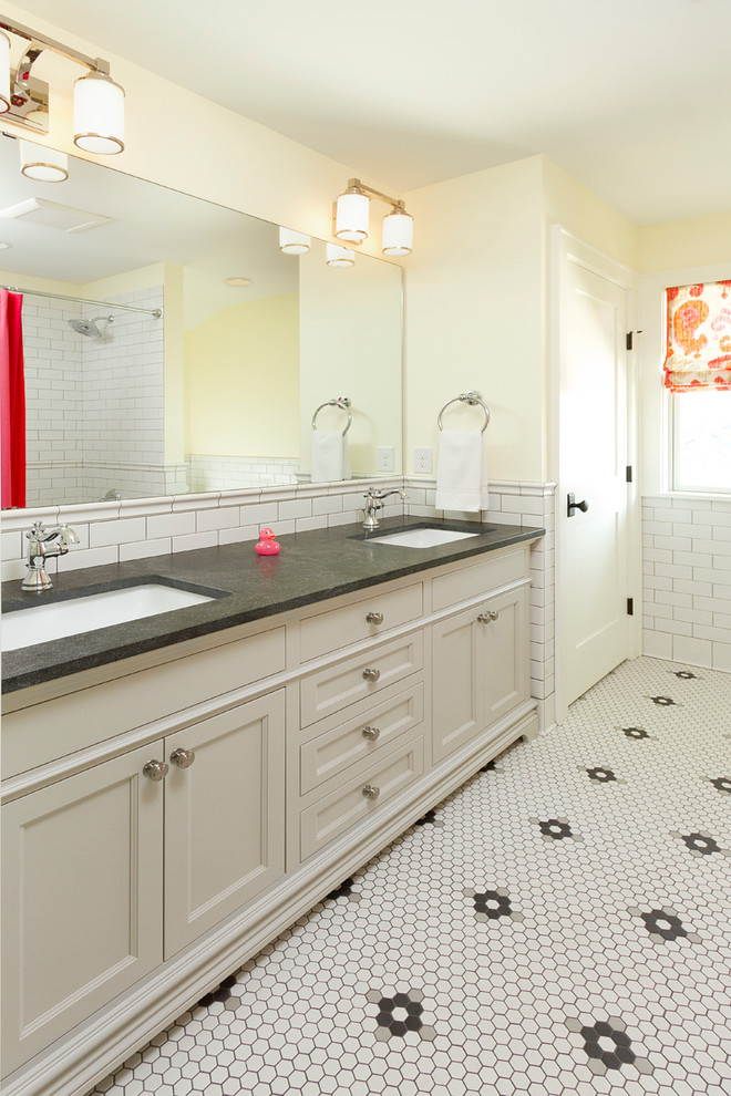 Delta Cassidy Bathroom Traditional with Custom Painted Vanity Delta Cassidy Gray Vanity Hexagon Tile Jet Mist Countertop