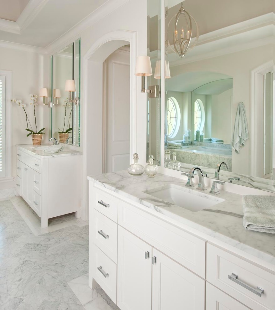 Delta Dryden Bathroom Traditional with Arch Arched Doorway Barrel Ceiling Bright Chrome Clean Cove Lighting Crisp Currey