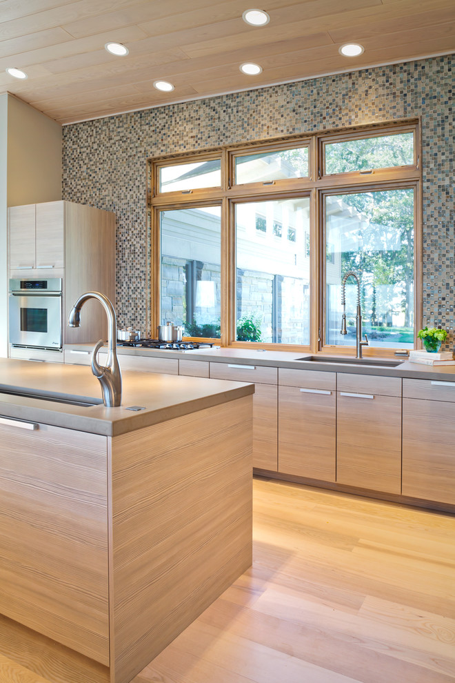 Delta Leland Kitchen Contemporary with Backsplash Tile Clerestory Windows Kitchen Island Mosaic Tile Accent Wall Recessed Lighting