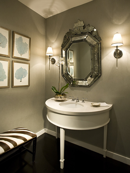 Demilune Table Powder Room Modern with Modern Powder Room