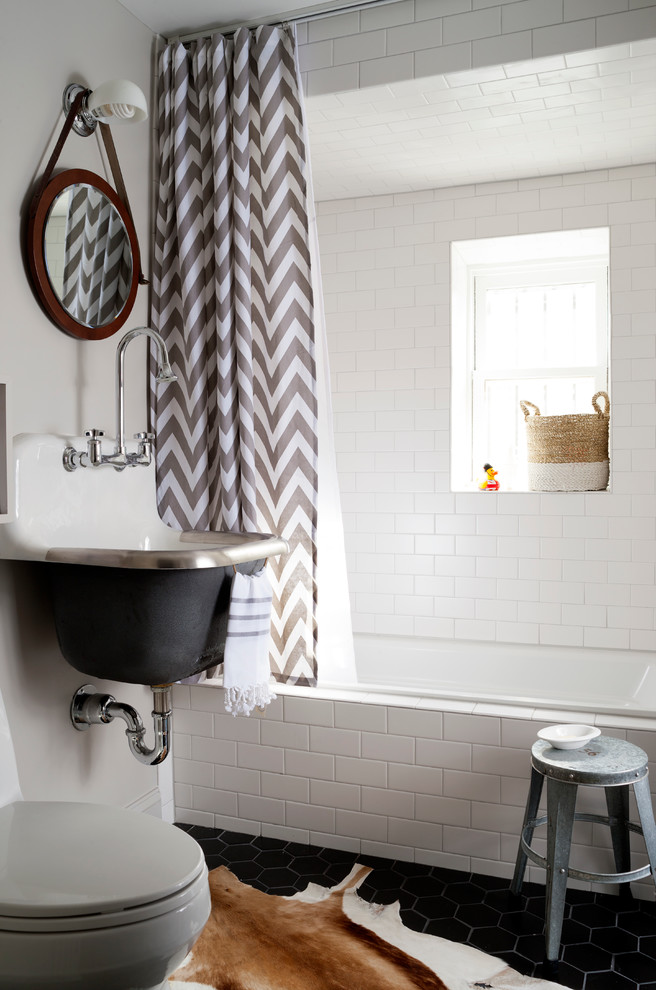 Deny Shower Curtains Bathroom Transitional with Animal Skin Rug Bridge Faucet Chevron Print Shower Curtain Gray and White