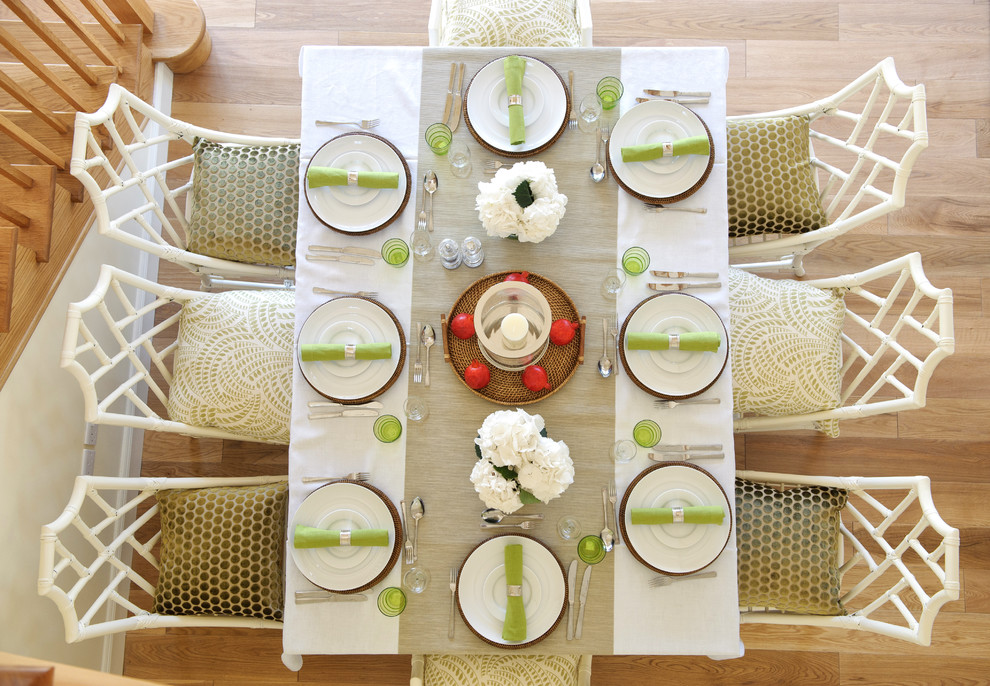 Designer Comforter Sets Dining Room Transitional with Beige Table Runner Chinese Chippendale Chairs Forks Knives Lime Napkins Place Settings