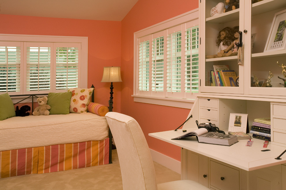 Desk and Hutch Kids Traditional with Baseboards Bed Pillows Bedroom Day Bed Pink Walls Plantation Shutters Sloped Ceiling