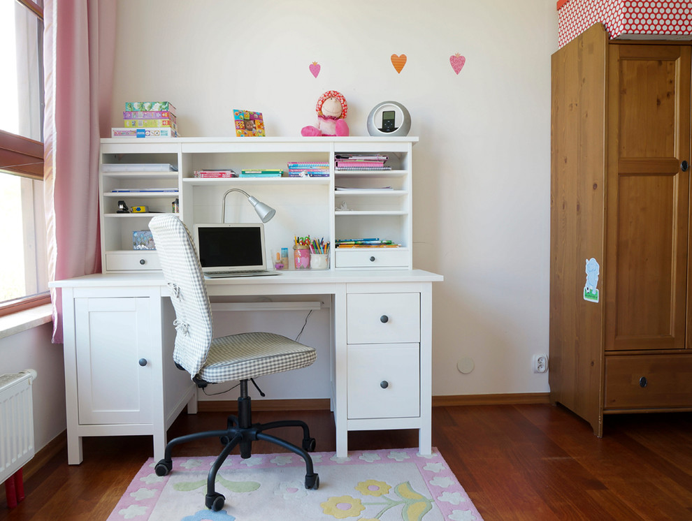 Desk with Hutch Kids Contemporary with Checkered Seat Cover Craft Storage Floral Rug Girls Room Homework Desk Knob