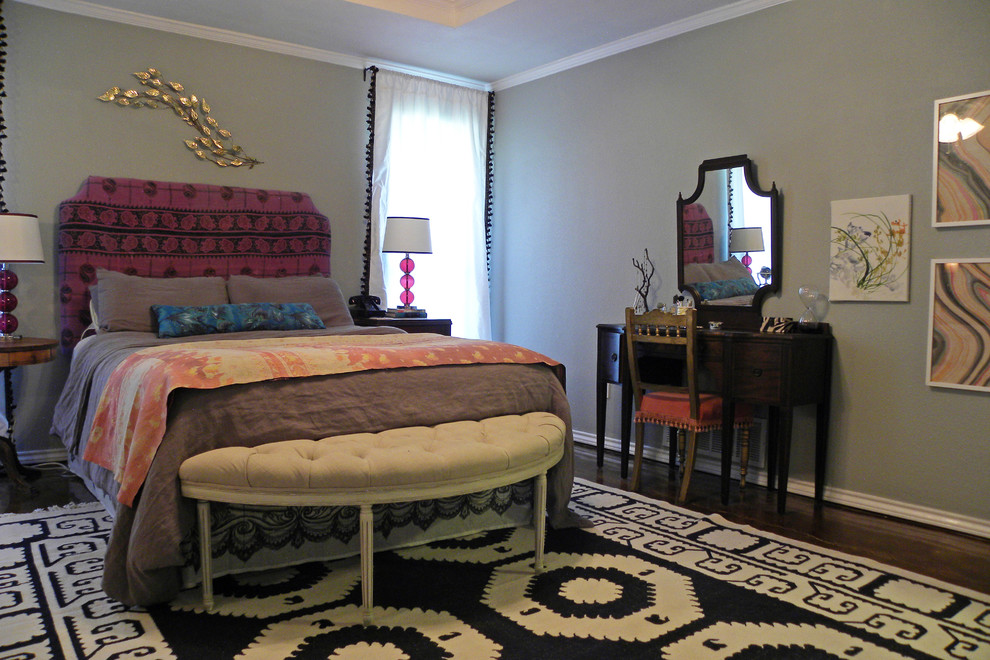 Dhurrie Rug Bedroom Eclectic with Antique Bedding Bedroom Bench Dhurrie Eclectic Ethnic Gray Print Purple Rug Tufted