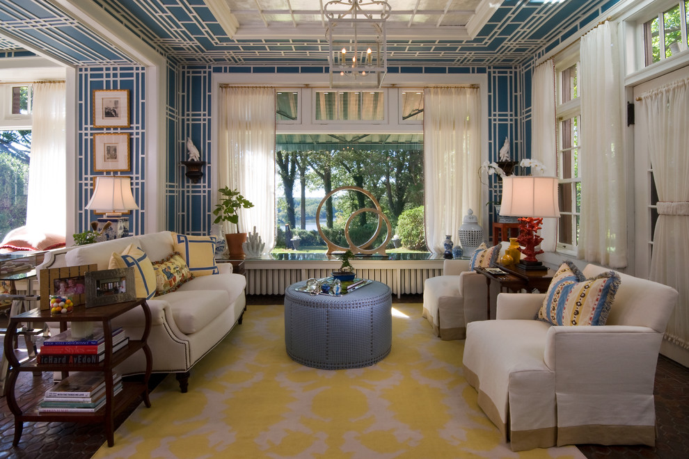 dhurrie rug Living Room Eclectic with accent skylight armchair Art blue and white wallpaper blue ottoman blue wallpaper