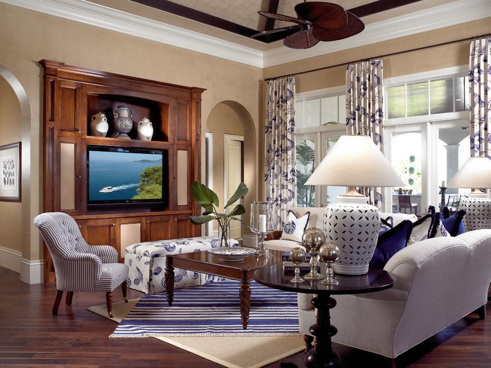 Dhurrie Rugs Family Room Traditional with Arch Arch Doorway Beige Rug Beige Wall Blue and White Curtain Blue