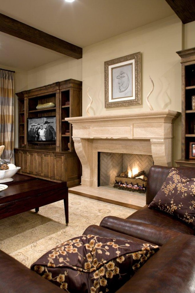Dimplex Fireplace Family Room Traditional with Area Rug Ceiling Lighting Decorative Pillows Exposed Beams Fireplace Mantel Fireplace Surround1