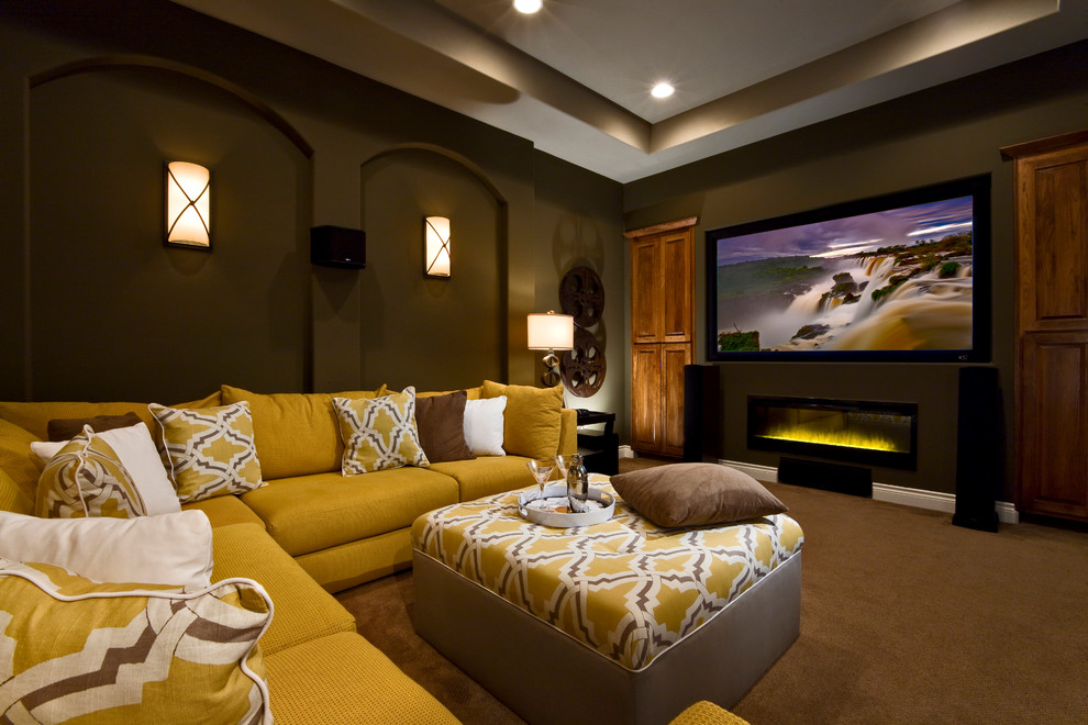 dimplex fireplace Home Theater Contemporary with brown ceiling detail Dark dark walls fire place Fireplace large tv lighting