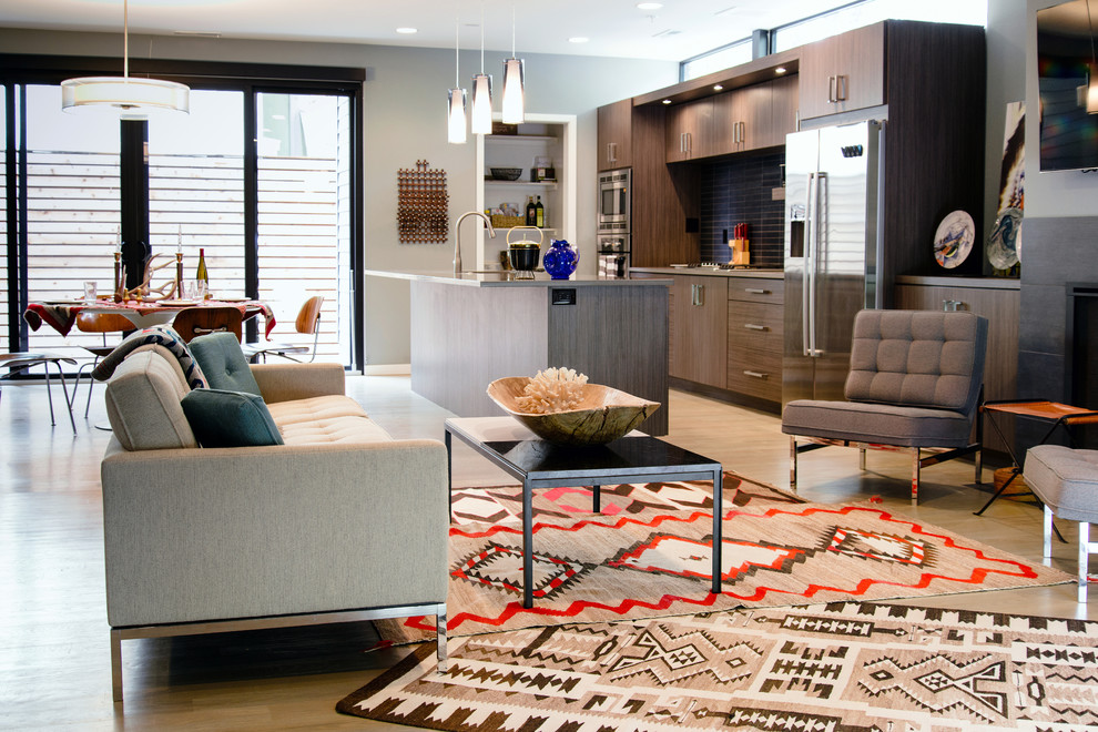 Dimplex Fireplace Kitchen Contemporary with Aztec Rug Contemporary Design Contemporary Kitchen Grey Accent Chairs Large Open Kitchen