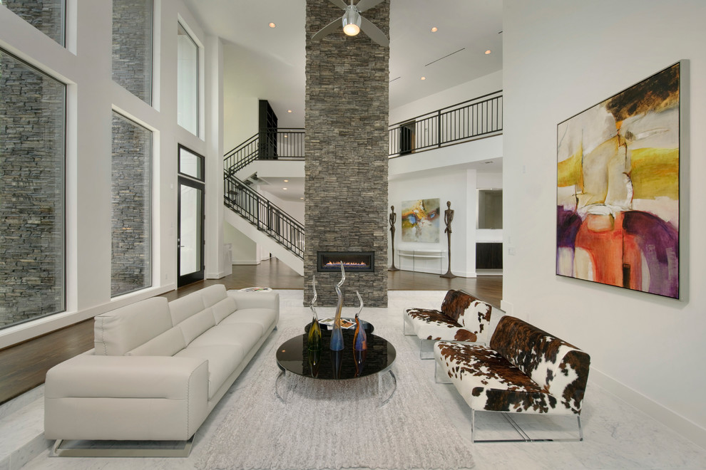 Dimplex Fireplace Living Room Contemporary with Accent Ceiling Fan Gray Area Rug Gray Sofa Large Colorful Art Round1