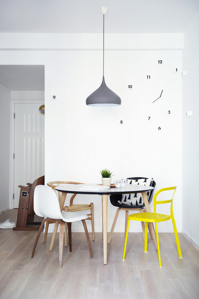 Dinette Set Dining Room Eclectic with Bright Yellow Dining Chair Cool Clock Dark Gray Pendant Light Dinette Dinette