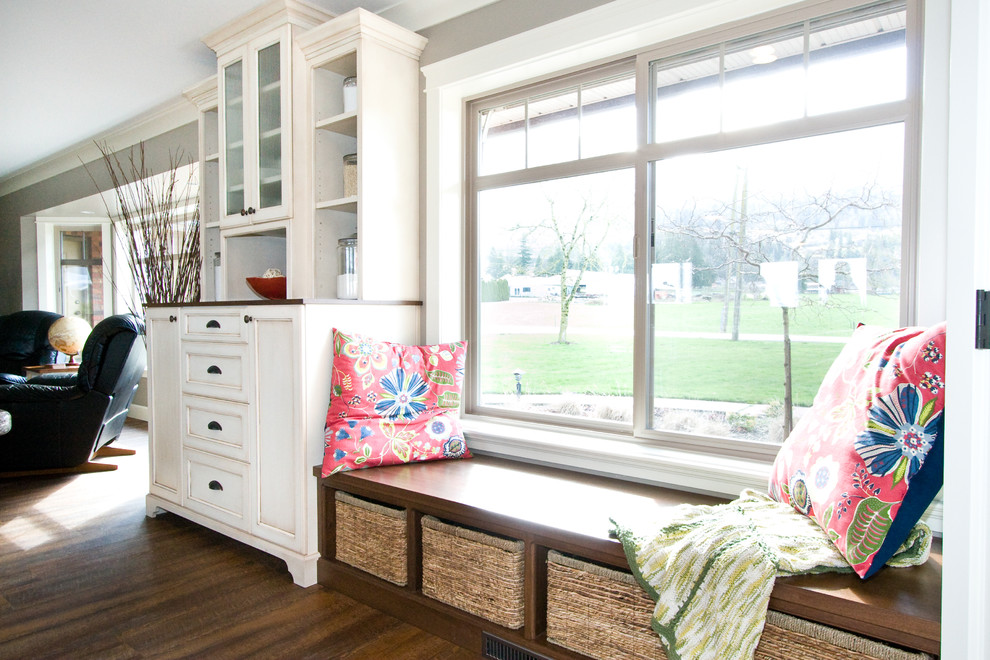 dinette set Living Room Traditional with American Walnut Stain baskets bench built in bench china cabinet cushions drawers