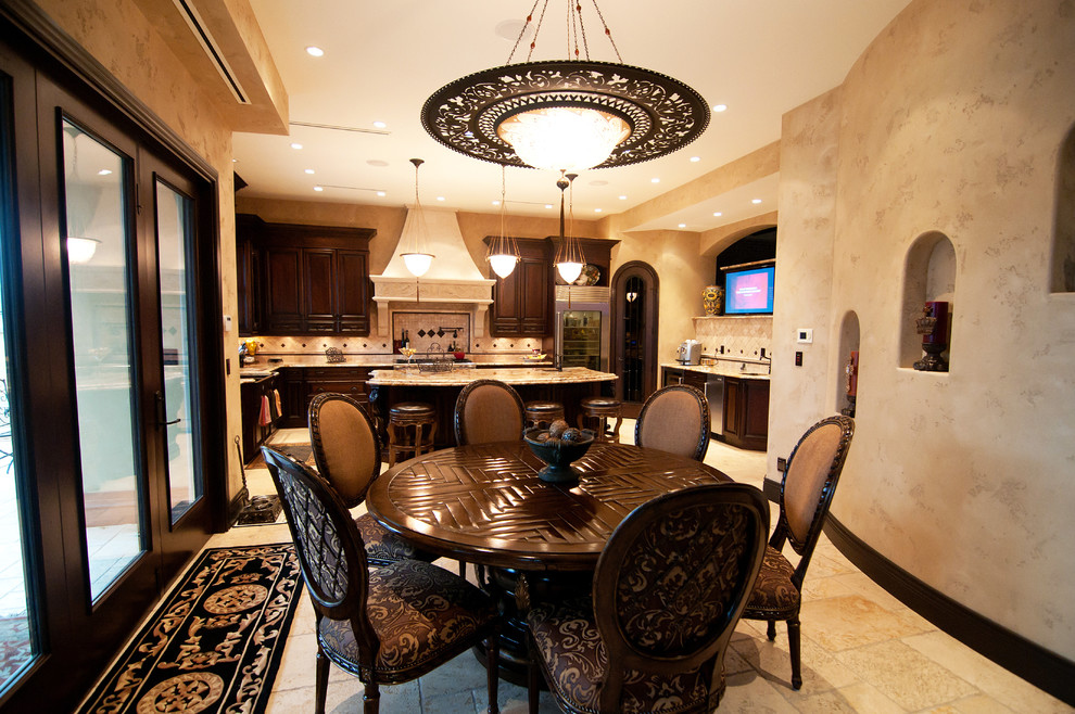 Dinette Sets Kitchen Traditional with Alcove Dark Wood Dining Faux Finish Fresco Hood Island Lighting Pendant Travertine