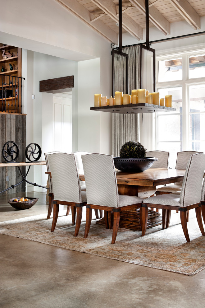 Dinette Tables Dining Room Traditional with Area Rug Candle Chandelier Chevron Concrete Floor French Doors Gray Drapes Iron